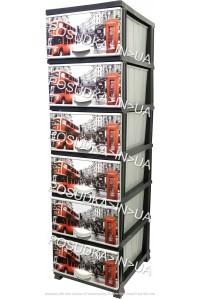 Комод пластиковый London на 6 ящиков Elif Plastik 298-4-6