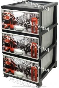 Комод пластиковый London на 3 ящика Elif Plastik 298-4-3