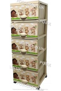 Комод детский пластиковый Мишки на 5 ящиков Elif Plastik 298-20-5
