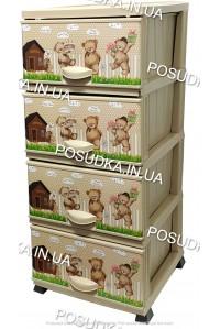Комод детский пластиковый Мишки на 4 ящика Elif Plastik 298-20-4
