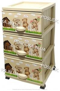 Комод детский пластиковый Мишки на 3 ящика Elif Plastik 298-20-3