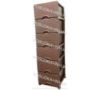 Комод пластиковый ротанг шоколадный на 6 ящика Elif Plastik Wicker 296-4-6