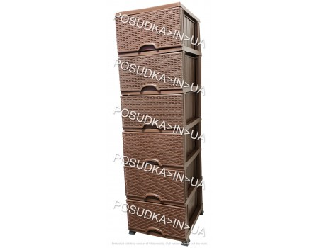 Пластиковый комод для ванной 6 ярусов шоколадный Elif Plastik Wicker 296-4-6