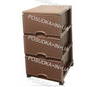 Комод пластиковый ротанг шоколадный на 3 ящика Elif Plastik Wicker 296-4-3