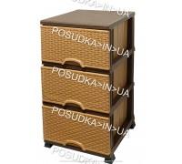 Комод пластиковый ротанг бежево коричневый на 3 ящика Elif Plastik Wicker 296-1-3