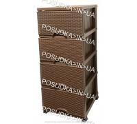 Комод пластиковый ротанг шоколадный на 4  ящика Elif Plastik Wicker 296-4