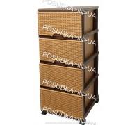 Комод пластиковый ротанг бежево коричневый на 4  ящика Elif Plastik Wicker 296-1