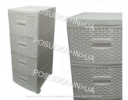 Комод с выдвижными ящиками пластиковый 4 ящика белый Консенсус