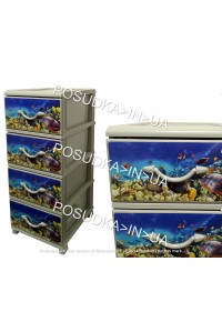 Комод для хранения пластиковый на 4 ящика Аквариум Senyayla Plastik