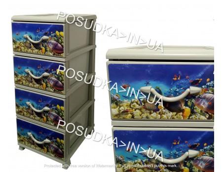 Комод платиковый голубой с морским рисунком 4 ящика Аквариум Senyayla Plastik