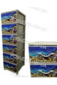 Комод для хранения пластиковый на 6 ящиков Аквариум Senyayla Plastik