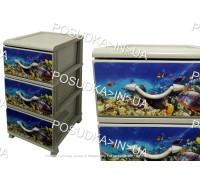 Комод для хранения пластиковый на 3 ящика Аквариум Senyayla Plastik