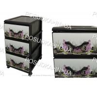 Пластиковый комод для мелочей на 3 ящика Камни Senyayla Plastik