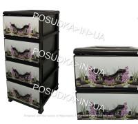 Пластиковый комод для мелочей на 4 ящика Камни Senyayla Plastik