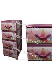 Комод для девочки пластиковый на 4 ящика Принцессы Senyayla Plastik