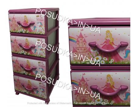 Пластиковый Комод в детскую спальню на 4 ящика Принцессы Senyayla Plastik