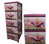 Комод для девочки пластиковый на 5 ящика Принцессы Senyayla Plastik