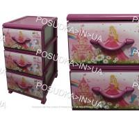 Комод для девочки пластиковый на 3 ящика Принцессы Senyayla Plastik