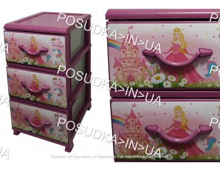 Комод в детскую пластиковый с выдвижными ящиками  3 ящика Принцессы Senyayla Plastik