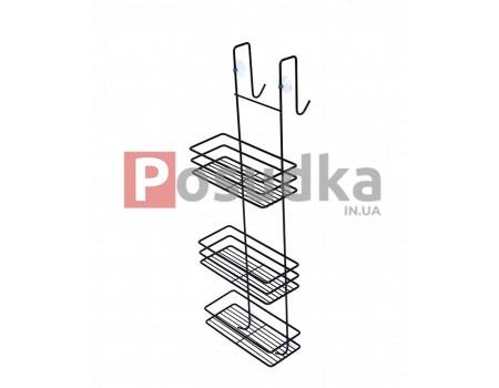 Полка на стенку душевой кабины три яруса ПД-2532-3 черный