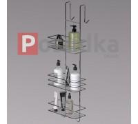 Полка для душевой кабины на присосках трехъярусная  ПД-2532 хром