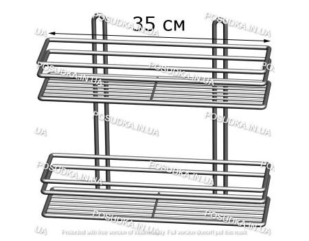 Полочка прямоугольная 35 см 2-ярусная 3-контурная хром ПП-3523