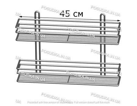Полочка прямоугольная 45 см 2-ярусная 3-контурная хром ПП-4523