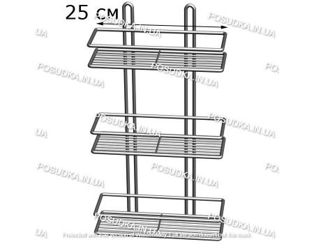 Полочка прямоугольная 25 см 3-ярусная 2-контурная хром ПП-2532