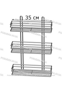 Полочка прямоугольная 35 см 3-ярусная хром ПП-3533