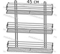 Полочка прямоугольная 45 см 3-ярусная хром ПП-4533