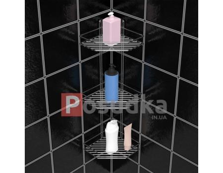 Полочка угловая 20см 3-ярусная 2-контурная хром