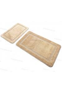 Набор прямоугольных ковриков в ванную Vonaldi 50*80 40*50 на резиновой основе Бежевый