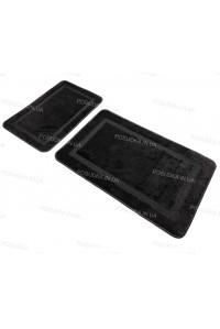 Набор прямоугольных ковриков в ванную Vonaldi 50*80 40*50 на резиновой основе Черный
