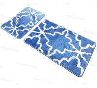 Набор прямоугольных ковриков в ванную Vonaldi 50*80 40*50 на резиновой основе Синий