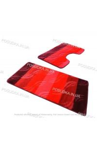 Набор ковриков для ванной и туалета Vonaldi на резиновой основе Бордовый