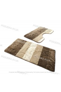 Набор ковриков для ванной и туалета Vonaldi на резиновой основе Кофейный