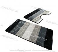 Набор ковриков для ванной и туалета Vonaldi на резиновой основе Серо-черный