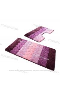 Набор ковриков для ванной и туалета Vonaldi на резиновой основе Сиреневый