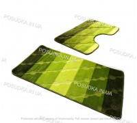 Набор ковриков для ванной и туалета Vonaldi на резиновой основе Зеленый