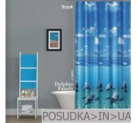Штора для ванной Tropik Dolphin Family BS8852 Семья дельфинов тканевая 180*200 см