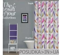 Штора для ванной Tropik Feather BS11126 Цветные перья тканевая 180*200 см