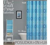 Штора для ванной Tropik V1-Rings BS5033 Голубые кольца тканевая 180*200 см