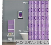 Штора для ванной Tropik V5-Rings BS5033 Фиолетовые кольца тканевая 180*200 см