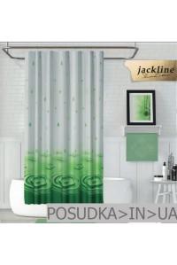 Тканевая штора для душа Jackline Drop BS5020-V4 Капля зеленая полиестр 180*200 см