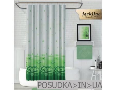Тканевая шторка для ванной  Jackline Drop BS5020-V4 Капля зеленая полиестр