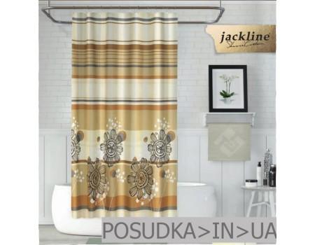 Шторка для ванной и душа  Jackline Gardenya BS7708 Гардения на бежевом полиестр