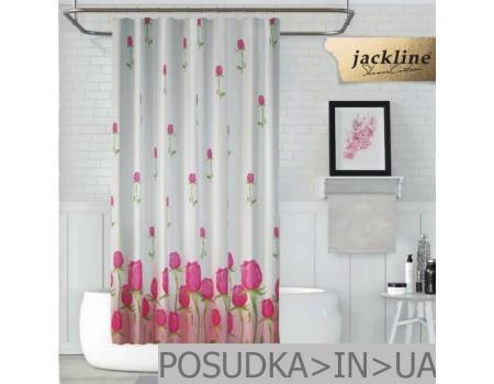 Шторка на поддон для душа из ткани Jackline Pink Rose BS7017 Розовая роза полиестр
