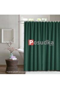 Штора для ванной однотонная тканевая Diamond 180*180 см темно-зеленая