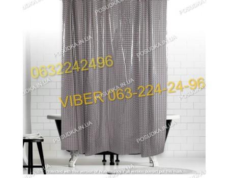 Штора для ванной клеенка, силиконовая 3Д эффект серая